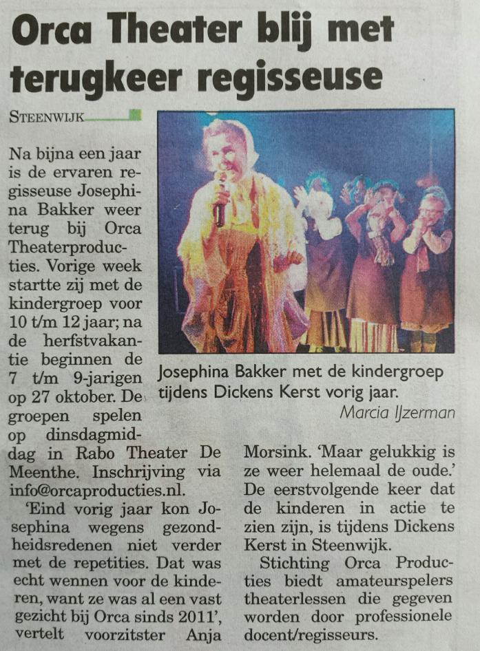 20151013 Steenwijker Expres Orca blij terugkeer regisseuse